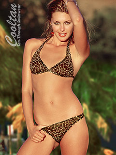 Gold Cheetah Halter top/Brazil Bottom bikini
